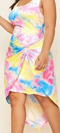 Piekna asymetryczna sukienka multikolor plus size