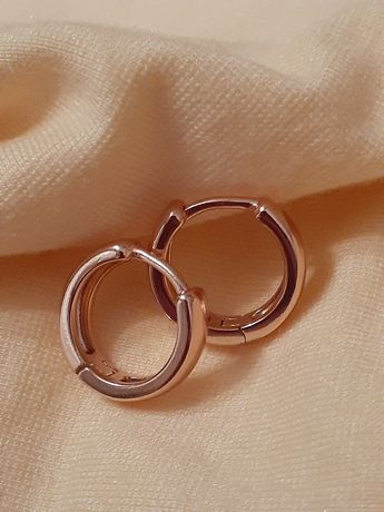 Классические серьги-кольца, позолота