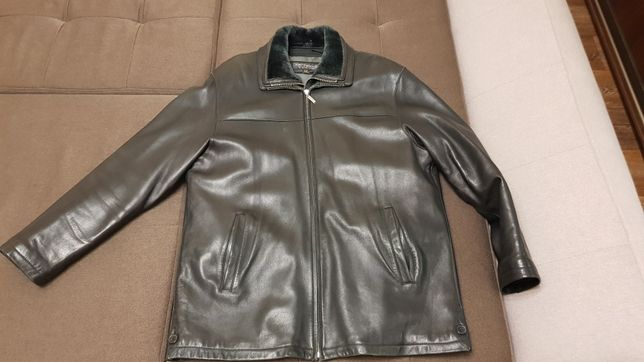 Мужская зимняя кожаная куртка размер 52/54