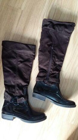 Piękne brązowe kozaki buty kalosze zimowe nieprzemakalne rozmiar 39/40