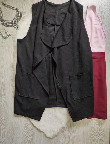 Черный длинный кардиган жилетка безрукавка нарядная классика большого