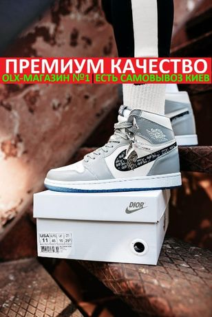 Кроссовки Nike Air Jordan 1 Retro High x DIOR Gray/White Unisex