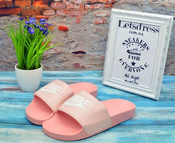 Женские шлепанцы Nike Slippers Rose Найк сланцы шлепки розовые