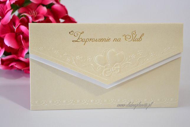 Zaproszenie na ślub kremowe serca