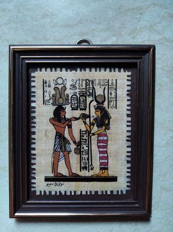 Картина на папирусе из Египта 10*12 см стекло, рамка.