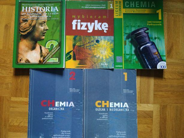 Podręczniki przygotowujące do matury historia, fizyka, chemia