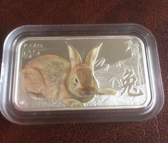 "Продам серебряную монету номиналом 1 доллар ""Год кролика"""