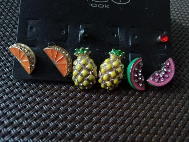 Kolczyki ananasy pomarańcze i arbuzy wkręty nowe