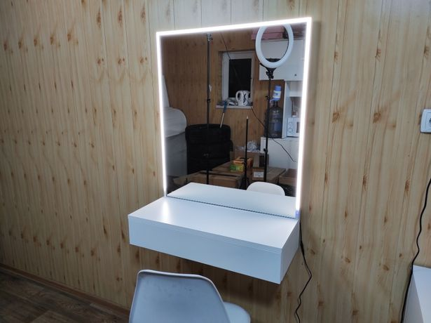 Гримерное навесное зеркало 70 см с подсветкой лед туалетный столик