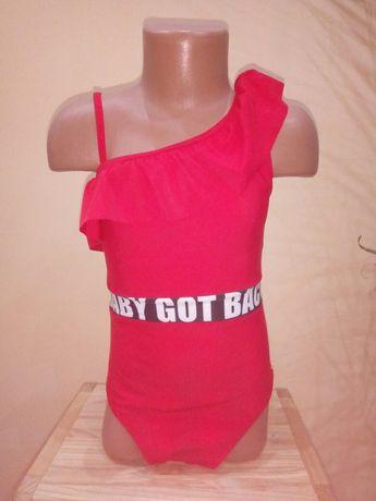 Купальник детский красный слитный с рюшей на одно плечо
