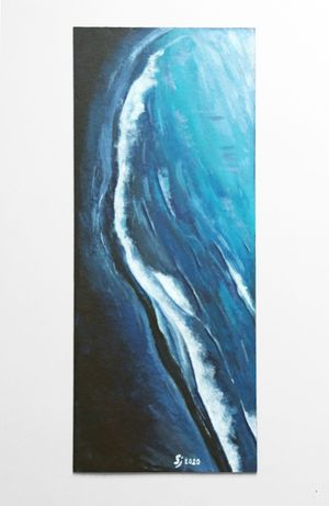 """Obraz """"Fala - Navy Blue"""" malowany ręcznie na płycie"""