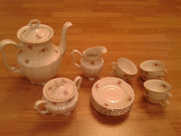 Stary Wałbrzych porcelanowy serwis do kawy mocca