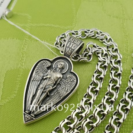 Цепочка серебряная бисмарк, якорь и кулон ангел хранитель Цепь серебро