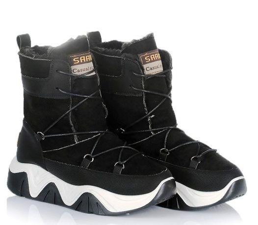Черные женские ботинки сапоги зима зимняя обувь 38
