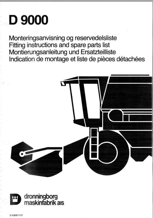 Katalog części kombajnu zbożowego dronningborg D9000