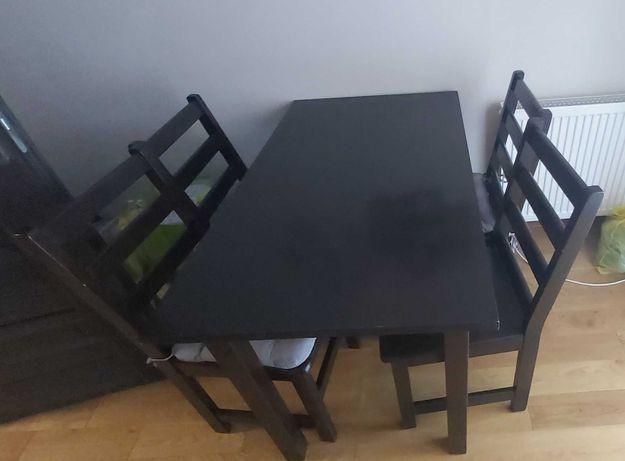 Stół plus 4 krzesła - sosna, brązowa bejca