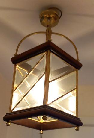 Candeeiro Lanterna Ferro Dourado e Madeira, Estimado.