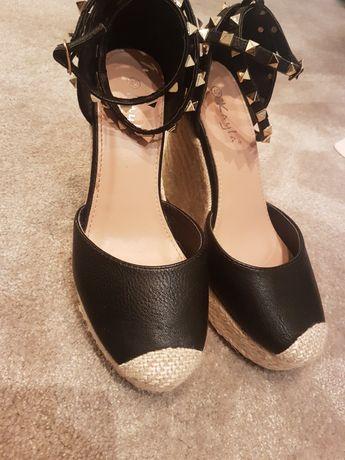 Sandały czarne espadryle z ćwiekami