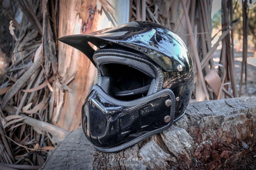 Capacete Vintage/Motocross/Old School/Retro (Black Glossy) NOVO