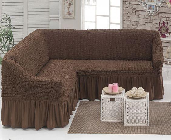 Угловой натяжной чехол на диван накидка Hommy Turkey, универсальный