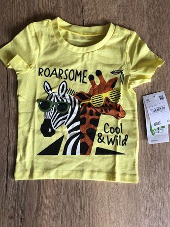 хлопковая футболка 86 зебра зеброй жираф жирафом зверями джунгли