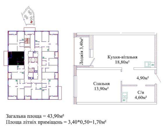 """1 комн. ЖК """"Альтаир 3"""", ул. Жаботинского! Мин цена в доме! Кухня 18кв!"""