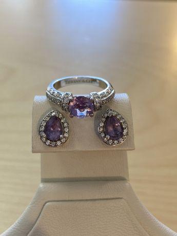 Шикарные Кольцо и Серьги - аметисты и бриллианты