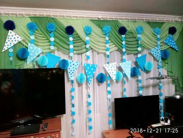 Фотозона,декор,гирлянда,помпоны,украшение на день рождение