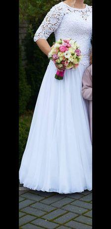 Piękna suknia ślubna rozm.L/XL muślin gipiura-przeróbki w cenie