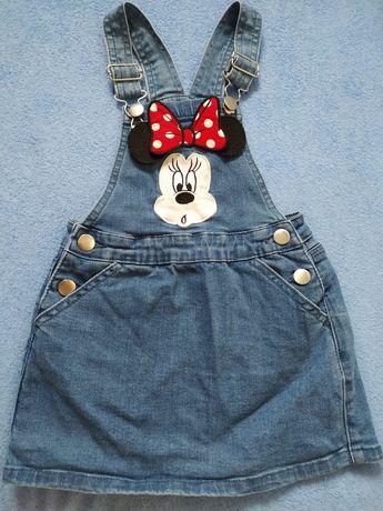 Jeansowa spódniczka na szelkach myszka Minnie primark  98 104
