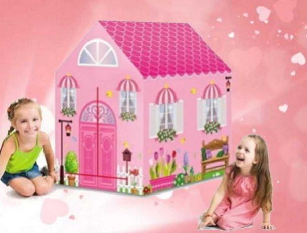 Игровая детская палатка компактная раскладная розовый домик принцессы