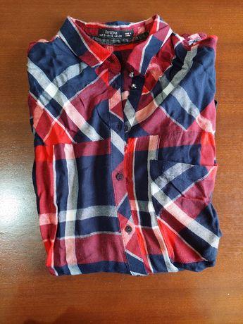 Camisa aos quadrados azul, vermelha e branca