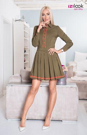 Sukienka khaki plisowana