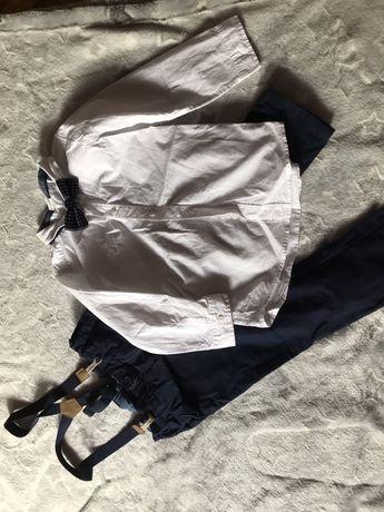 H&m spodnie z szelkami plus koszula zestaw wesele roczek 104
