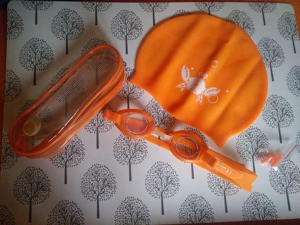 3szt zestaw pływacki: gogle - okulary, czepek i stopery, NOWE
