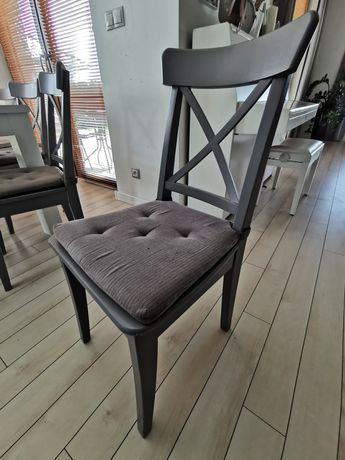 IKEA INGOLF krzesło drewniane SZARY