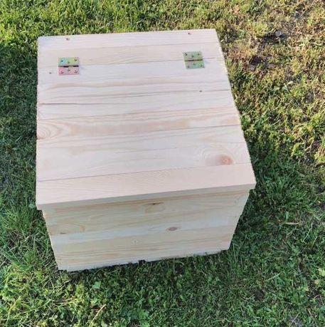 Stolik drewniany, Siedzisko, Industrialna skrzynka