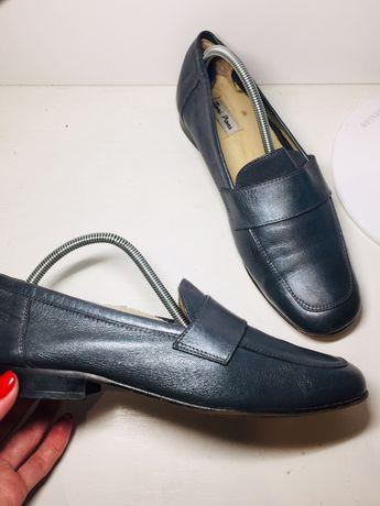 Кожаные туфли балетки мокасины лоферы 37 размер женские