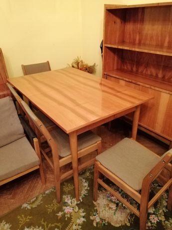 OKAZJA Bytomskie Fabryki Mebli Stół rozkładany drewniany 6 krzeseł PRL