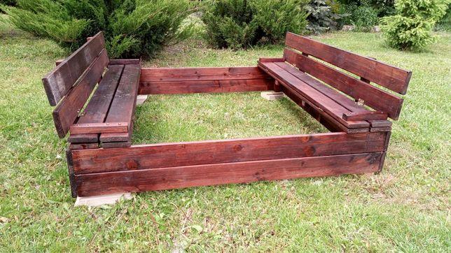 Piaskownica ze składanymi ławkami - złożona - drewniane 120x120x20