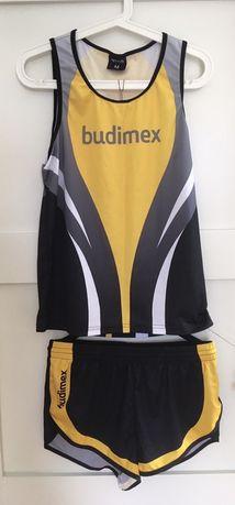 Strój biegowy QUEST koszulka spodenki szorty bezrękawnik Budimex
