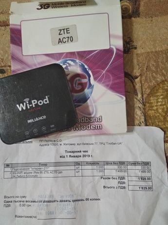 Переносной 3G-Wifi модем ZTE AC70 работает как повербанк инет безлим