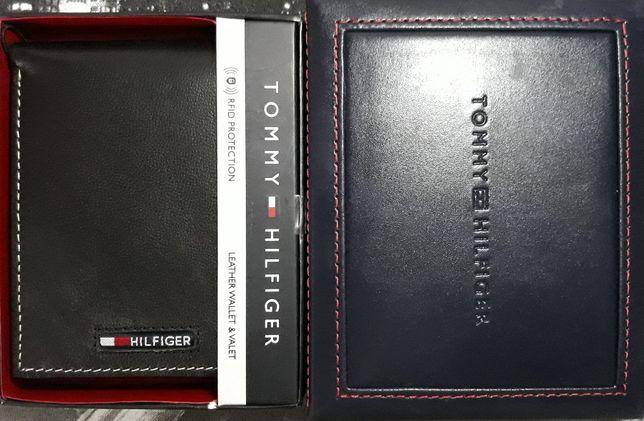 TOMMY HILFIGER Oryginalny Meski Czarny Portfel Skorzany RFID + Pudelko