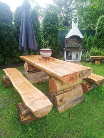Meble ogrodowe, góralski stół i dwie ławki