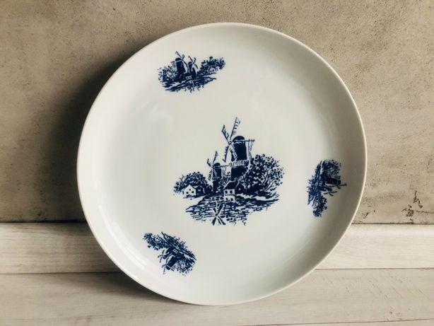 Talerze PRL 3 sztuki porcelana biało niebeskie płaskie