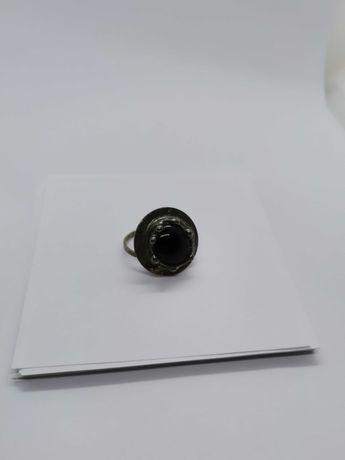 pierścionek z metaloplastyki z kamieniem półszlachetnym Cu/Ag