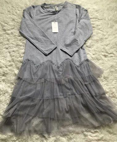 Sukienka midi, dresowa z tiulem