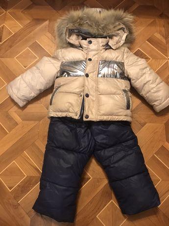 Детский зимний комбинезон курточка с капюшоном+ комбинезон