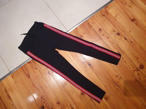 Jegginsy 140 Reserved czarne spodnie z lampasami