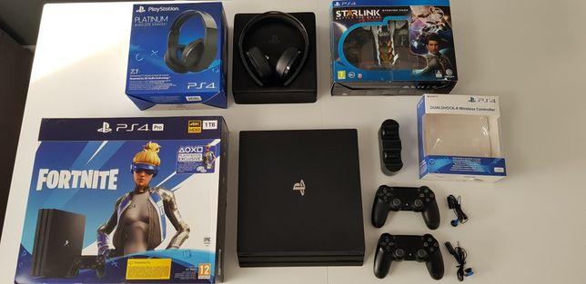 PlayStation 4 PRO 2x PAD, Ładowarka, Słuchawki Platinum, Starlink GW